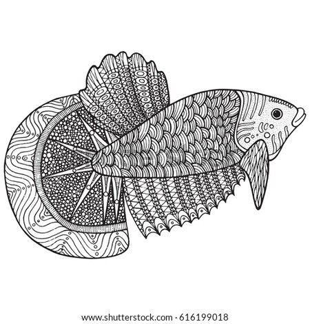 coloring page zentangle fish doodle hand stock vector 2018 616199018 shutterstock - Coloring Page Zentangle