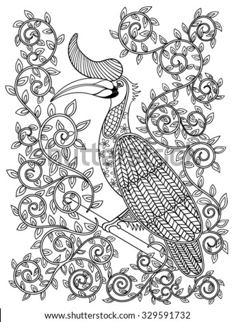 Coloring page with zentangle illustartion Hornbill bird for adult Coloring books or tattoos with high details isolated on white background. Vector monochrome sketch of exotic bird. - stock vector