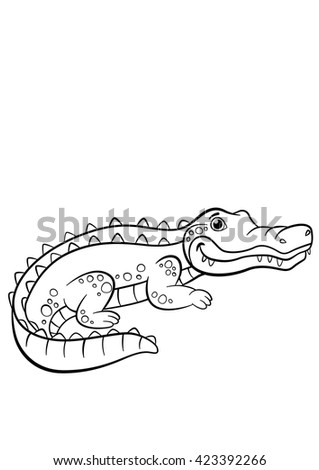 Numbers game education dot dot game stock vector 582861778 for Cute alligator coloring pages