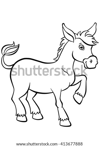 Coloring Pages Animals Little Cute Donkey Stock Vector 413677888 ...