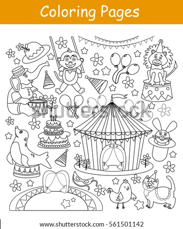 Coloring Pages Circus Animals Stock Vector 561501142