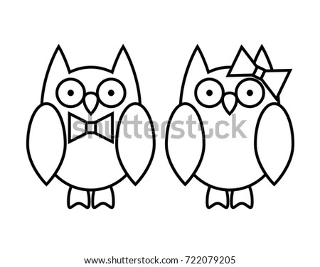 Coloring Pages Cute Cartoon Owl Couple Boy And Girl Wild Animals Outline Vector Illustration