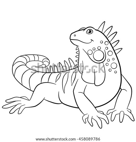 coloring pages cute iguana sits and smiles