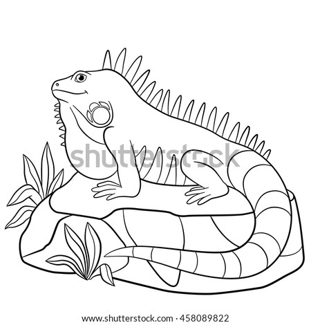 Color me iguana cute blue iguana stock vector 458089750 for Iguana coloring pages