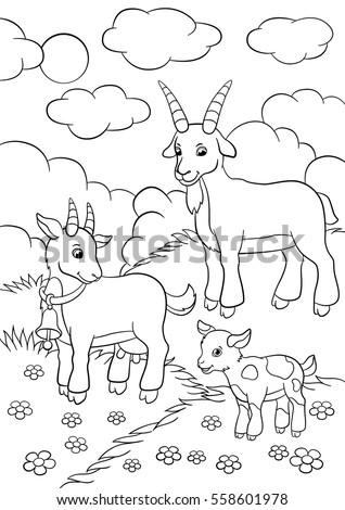 Coloring Pages Farm Animals Goat Family Stock Vector 558601978 ...
