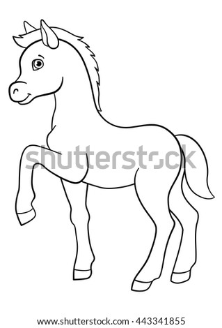Coloring Pages Farm Animals Little Cute Foal Smiles