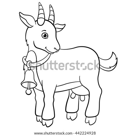 coloring pages farm animals little cute stock vector 442224928 shutterstock. Black Bedroom Furniture Sets. Home Design Ideas