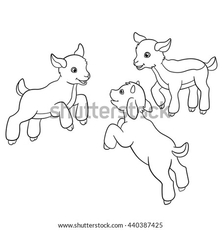 Coloring Pages Farm Animals Three Little Cute Doatlings
