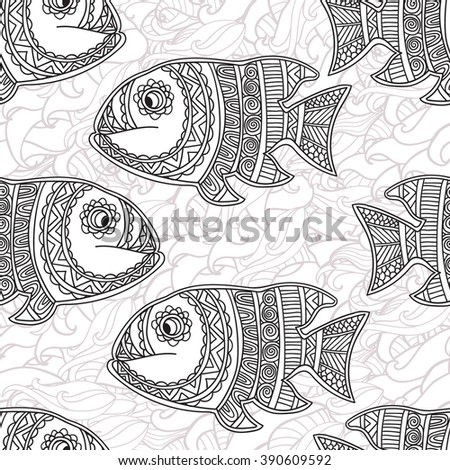 Coloring pages for adult. Coloring book. antistress. Seamless abstract hand-drawn ornamental fish with waves pattern. Zentangle ornamental fish background. Doodl  style. - stock vector