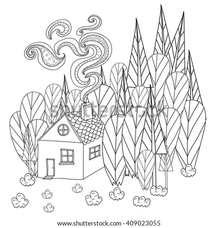 Coloring Pages For Adults And Children Book Cartoon House In The Forest Pattern
