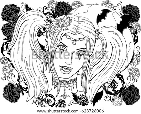 coloring pages for adults beautiful girl vampire - Beautiful Coloring Pages Girls