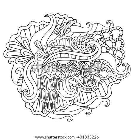 Coloring pages for adults. Coloring book.Decorative hand drawn doodle nature ornamental curl vector sketchy pattern. - stock vector