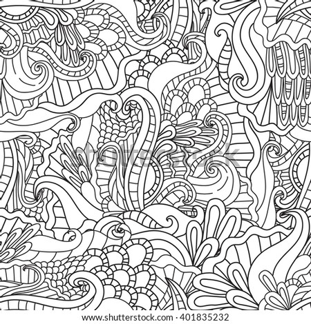 Coloring pages for adults. Coloring book.Decorative hand drawn doodle nature ornamental curl vector sketchy seamless pattern. - stock vector