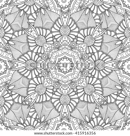 Coloring pages for adults. Coloring book.Decorative hand drawn doodle,zentangle nature ornamental mandala vector sketchy seamless pattern.Islam,Arabic,Indian,turkish, pakistan, chinese, ottoman motifs - stock vector