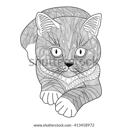 Adult cat and kitten stock images royalty free images for Cat coloring pages for adults