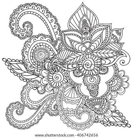 Henna tattoo flower template mehndi stock vector 335683682 for Henna coloring pages