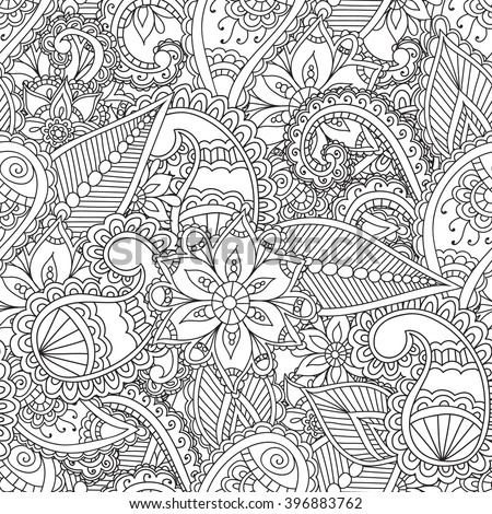 Coloring pages for adults.Seamless pattern.Henna Mehendi Doodles Abstract Floral Paisley Design Elements,Mandala,Vector Illustration.Coloring book.Coloring pages for adults. - stock vector