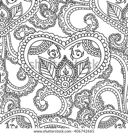 coloring pages for adults seamless patternhenna mehndi doodleszentangle abstract floral paisley