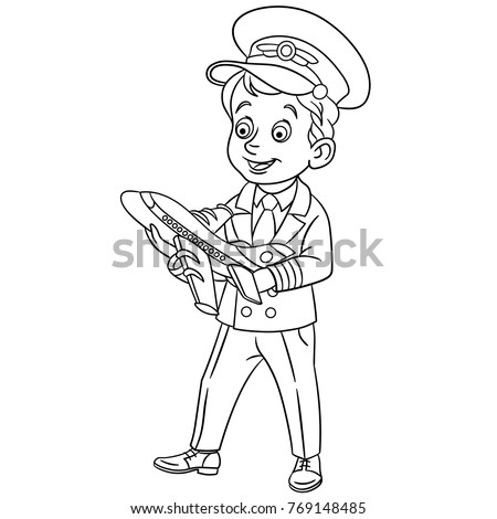 Coloring Pages For Kids Design Childrens Colouring Book Cartoon Airplane Pilot With Toy