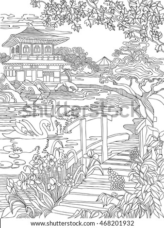 Coloring Pages Japanese House On River Stock Vector 468201932