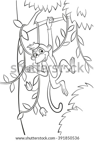 coloring pages little cute monkey is hanging on the banch of the tree in the - Coloring Pages Monkeys Trees