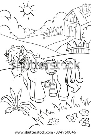 Coloring pages. Little cute pony eating grass on the farm. Little village house in behind.