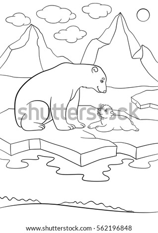 Coloring Pages Mother Polar Bear Sits On The Ice Floe With Her Little Cute