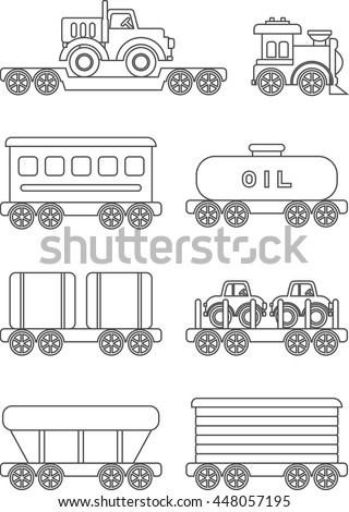 Coloring Pages Set Of Different Silhouettes Railway Transportation Children Toys Flat Linear Vector