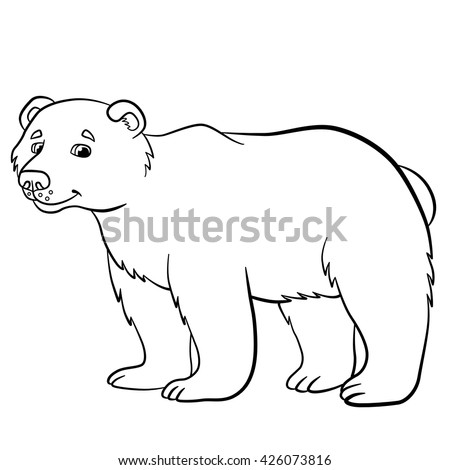 Coloring Pages Wild Animals Cute Bear Stands And Smiles