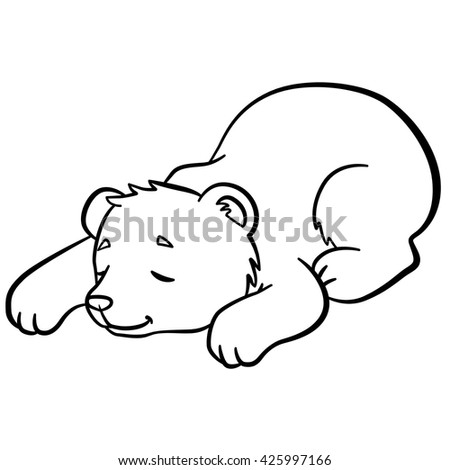 Coloring pages. Wild animals. Little cute baby bear sleeps. It is so sweet.
