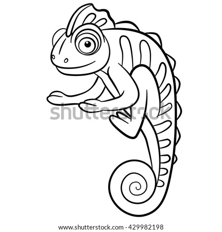 Coloring Pages Wild Animals Little Cute Stock Vector 429982198 ...