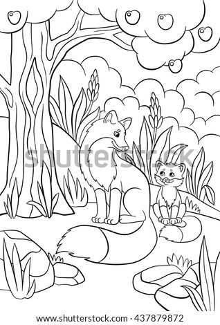 Coloring Pages Wild Animals Mother Fox Stock Photo (Photo, Vector ...