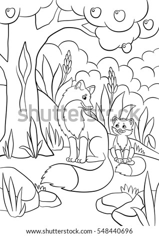 coloring pages wild animals mother fox with her little cute baby fox in the - Baby Forest Animals Coloring Pages