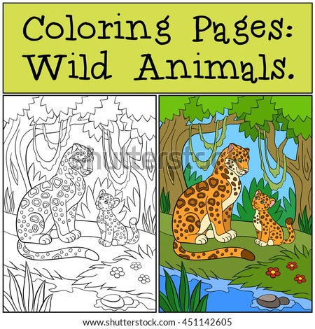 Coloring Pages Wild Animals Mother Jaguar With Her Little Cute Cub In The Forest