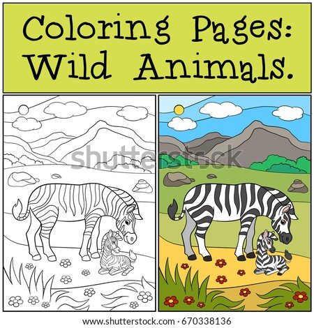 Coloring Pages Wild Animals Mpther Zebra With Her Little Cute Baby