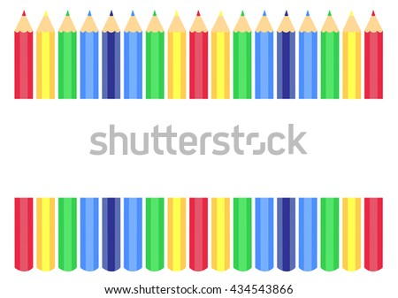 coloring pencils illustrated vector isolated