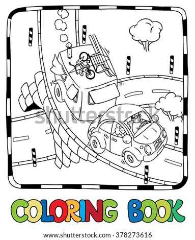 Coloring picture of small car with trailer on the road. Children vector illustration - stock vector