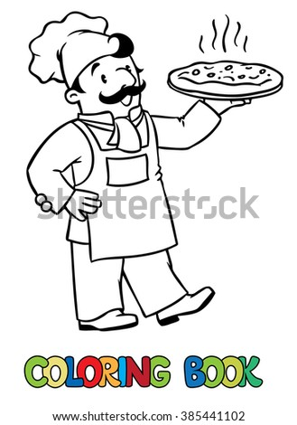 Coloring picture or coloring book of funny cook or chef or baker. Profession series. Children vector illustration. - stock vector