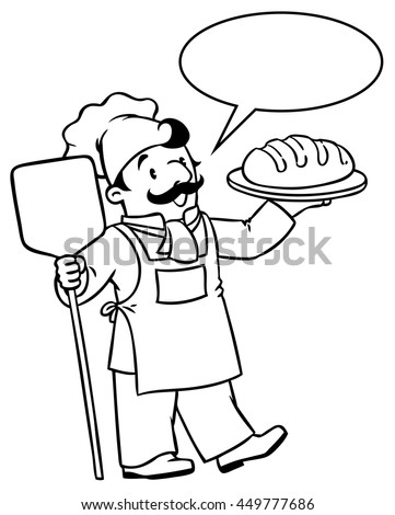 Coloring picture or coloring book of funny cook or chef or baker with bread. Profession series. Children vector illustration. With balloon for text. - stock vector