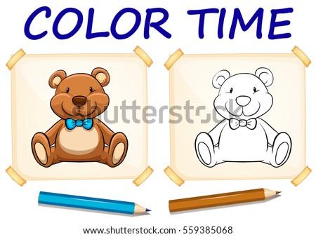 Coloring template teddy bear illustration stock vector 559385068 coloring template with teddy bear illustration maxwellsz