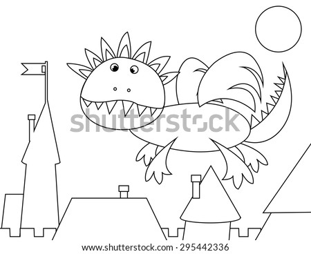 Vector coloring page christmas reindeer stock vector for Flying reindeer coloring pages
