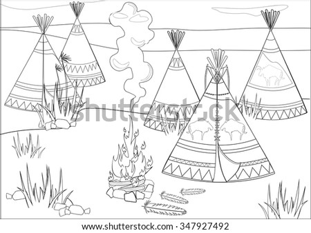 Coloring with halt Indians in prairie - stock vector