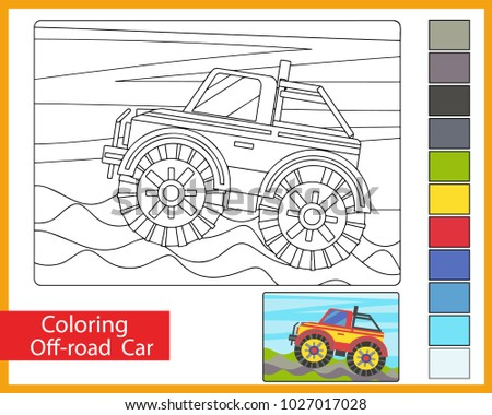 Coloring With Off Road Car Childrens Arts Game Entertainment For Children Drawing