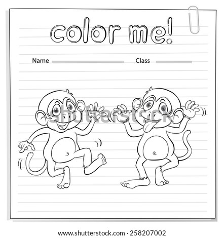 Coloring worksheet with two playful monkeys on a white background