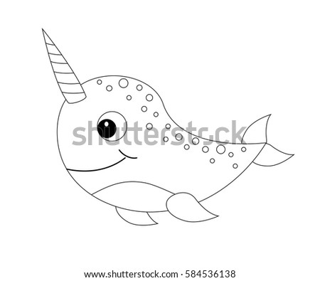 Colorless Cartoon Narwhal Coloring Page Preschool Stock Vector 584536138    Shutterstock