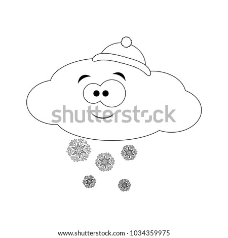 Colorless Funny Cartoon Cloud Hat Snow Stock Photo (Photo, Vector ...