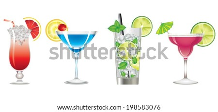 Colors cocktails drink icon - stock vector
