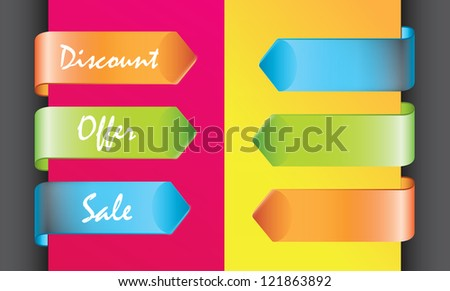 colors discount labels over yellow and pink background - stock vector