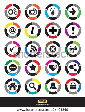 Colors icon with basic sign. Simple circle shape internet button on white background. This is vector illustration web design elements saved .EPS - stock vector