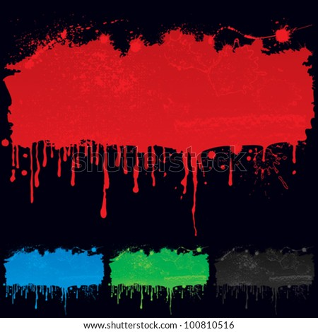 Colors wet paint drip straight down. - stock vector